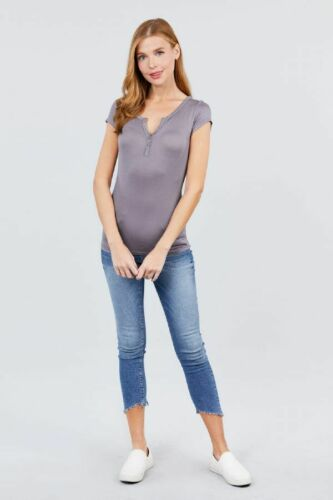 Women/'s Low V-Neck Button Short Sleeve Rayon Blend Stretchy Henley Top Tee Shirt