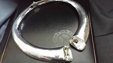 Statement Oversize Chunky Large Silver Crystal Collar Roman Curve Cuff Necklace