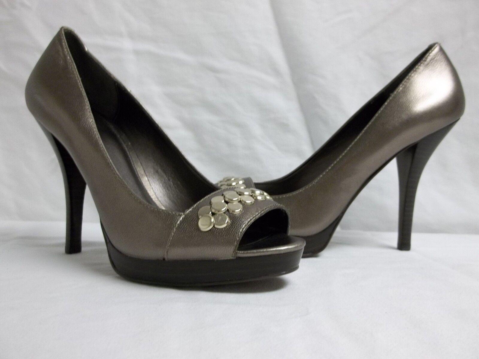 Calvin Klein Größe 8.5 M Caleigh Leder Pewter Open Toe Heels NEU Damenschuhe Schuhes
