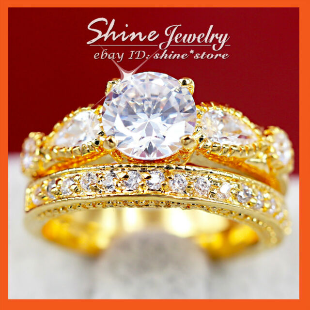 24K GOLD GF R229 VINTAGE CHANNEL WEDDING DIAMONDS SIMULATED SOLID RING SET GIFT