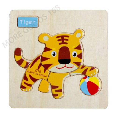 Animals Wooden 3D Colorful Jigsaw Puzzle Educational Toy For Toddler Kids Gift