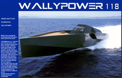 Wallypower 118 RC Model Boat Plans Pattern CNC Laser ScrollSaw