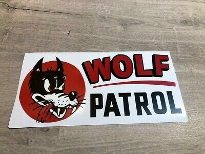 "WOLF PATROL Vintage Racing decal sticker 8.75 x 4.25/"""