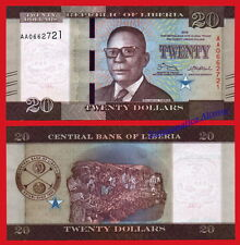 LIBERIA 20 Dollars dolares 2016 (2017) Pick NEW Serial AA SC / UNC