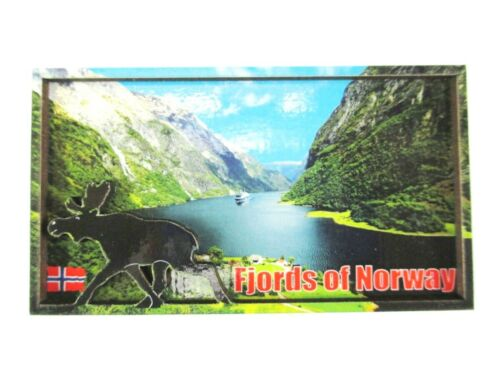 Norwegen Fjorde 9 cm  Holz Souvenir Wood Magnet,Norway,Neu