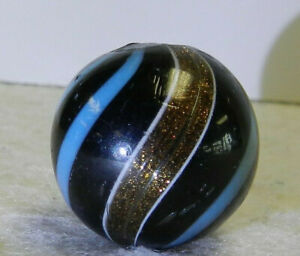 #11949m Large .79 Inches German Handmade Black Base Banded Lutz Marble Near Mint