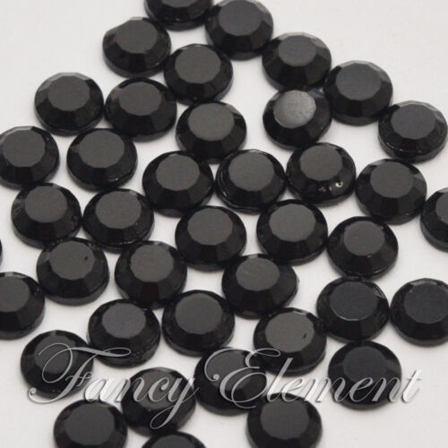 1440pcs Hotfix Rhinestones 2-5mm Round Jet Black Flatback Iron Crystal Nail Art