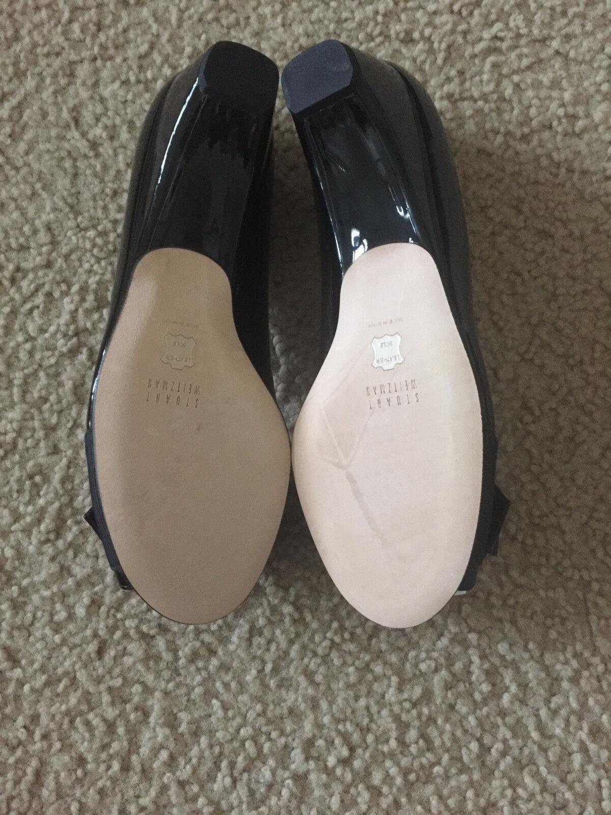 NIB Stuart pump Weitzman Lovebow peep toe pump Stuart 5 5.5 6 6.5 7 7.5 8 schwarz patent Bow ec424d
