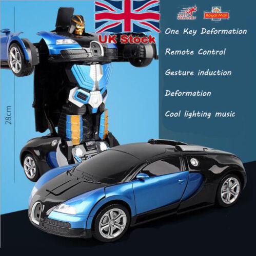 One Key Deformation Remote Control RC Robot Racing Car Model Transforming Toys
