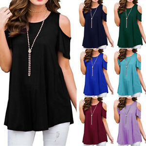 UK-Womens-Cold-Shoulder-T-shirt-Summer-Ladies-Loose-Blouse-Tops-Plus-Size-6-20