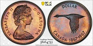 1967-CANADA-GOOSE-SILVER-DOLLAR-PCGS-PL65-BU-UNC-CHOICE-COLOR-NICE-TONED-DR