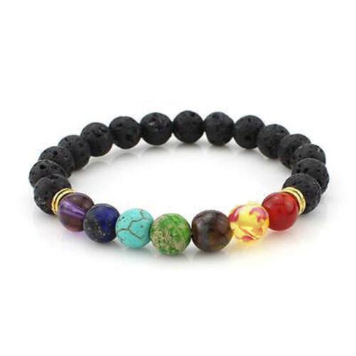 7 Chakra Healing Balance Perlen Armbands Lava Yoga Reiki Gebet Stein Geschenken