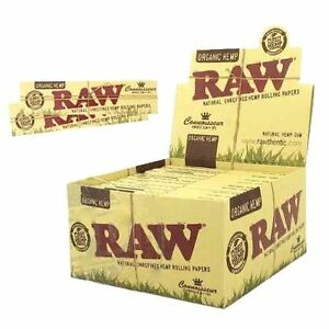12 Packs x RAW Natural King Size Slim & Tips Organic Hemp Rolling Papers 7161651775860