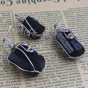 Natural-Druzy-Black-Tourmaline-Wire-Wrapped-Pendulum-Gemstone-Pendant-Jewelry