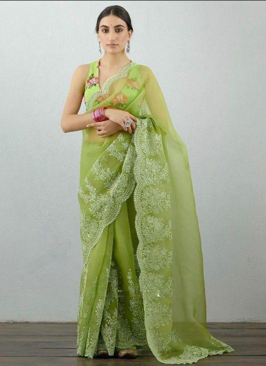 Organza Silk Embroidery Work Saree Indian Design Pakistani Party Wear Sari Blous