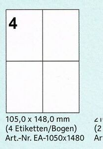 40-Etiketten-105-x-148-mm-10-Boegen-A4-zu-je-4-Etiketten-Adressaufkleber