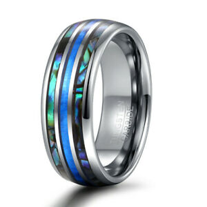 8mm-Blue-Opal-amp-Shell-Inlay-Tungsten-Carbide-Ring-For-Men-Wedding-Engagement-Band