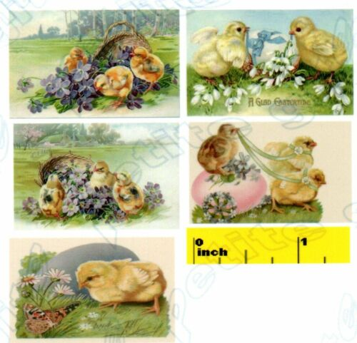 Miniature Vintage Easter  Chicks  Prints   Dollhouse   1:12 scale