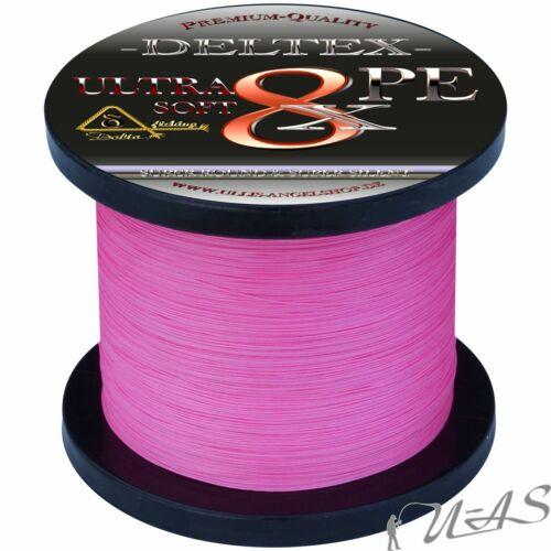 DELTEX Ultra Soft Pink 0,25mm 19.10kg 300M 8 fach Geflochtene Angelschnur Kva