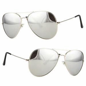 Classic Silver Mirror Aviator Retro Men Fashion Metal Vintage Design Sunglasses