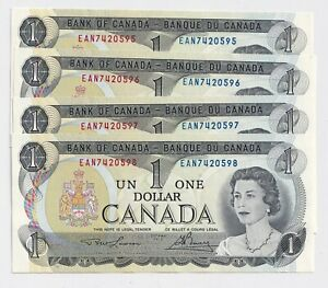4-x-Sequential-1973-1-Bank-of-Canada-Notes-UNC