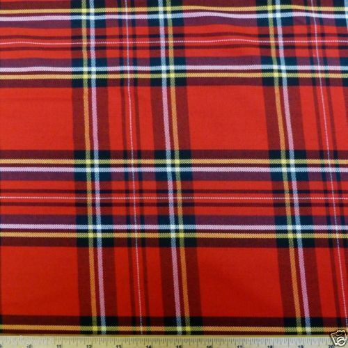 New Polyviscose Tartan Fabric 150cm 59 Wide Per Metre or Half Metre Red Fabric