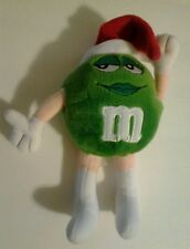 """2002 M & M Green with Red Christmas Hat Stuffed Plush 8"""" inch Ornament Cute Used"""