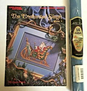 Enchanted-Sleigh-cross-stitch-pattern-Christmas-Santa-amp-dusky-blue-Aida-fabric