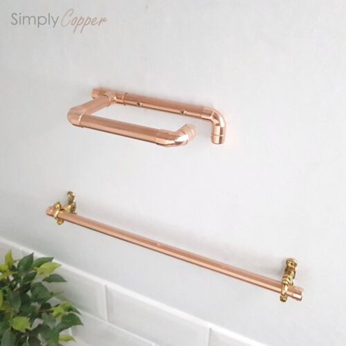 COPPER TOILET ROLL HOLDER /& TOWEL RAIL BRASS FIXTURES REAL COPPER HANDMADE