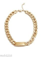 """NWT Guess Gold Metal-Clear Rhinestones """"ID"""" Nameplate Heavy Link Necklace"""