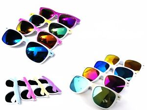 Fashion-Sunglasses-White-Frame-Mirror-Lenses-Retro-Mens-Womens