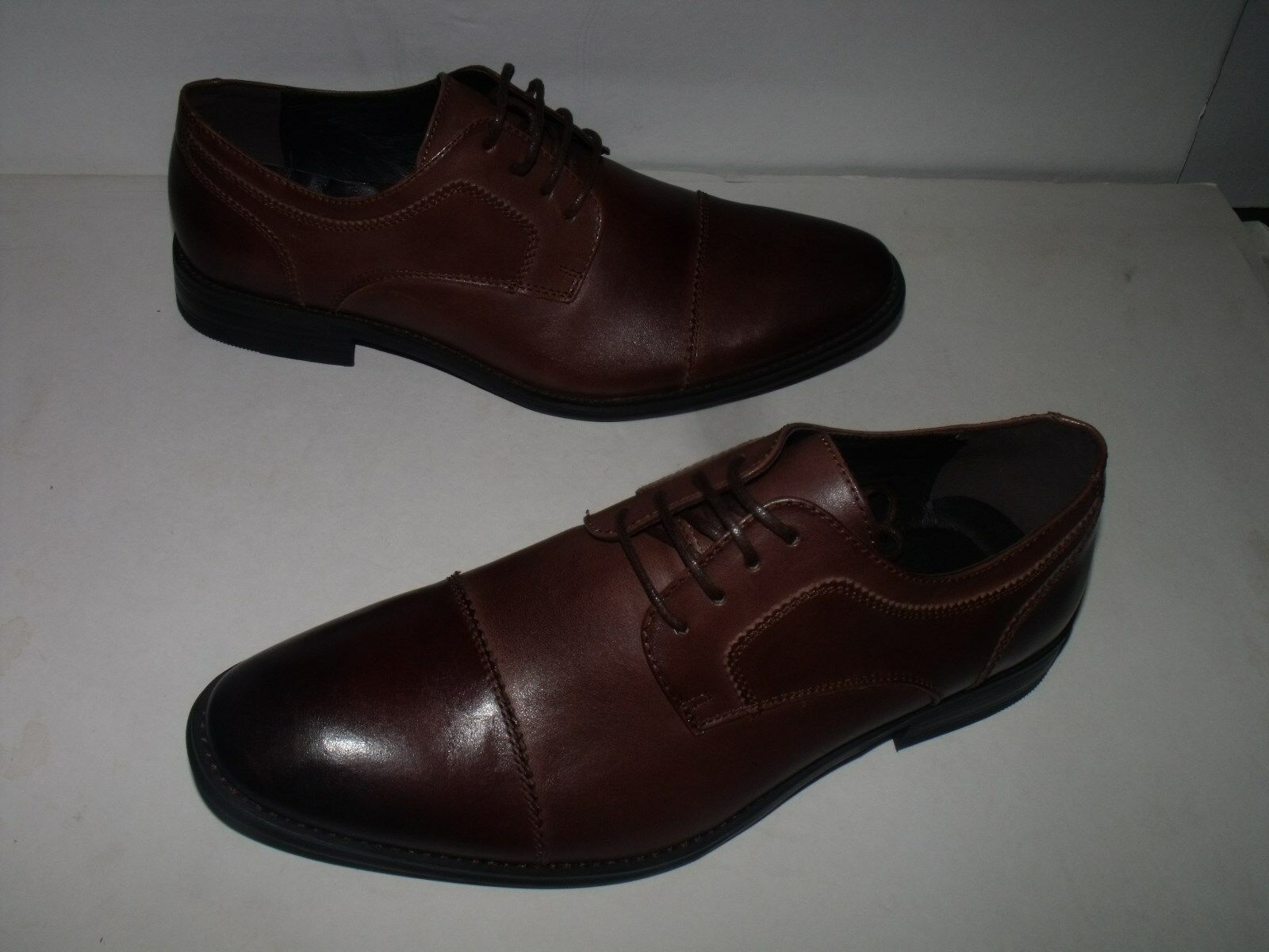Asher Green Mens Genuine Leather  Cap Toe  Dress shoes (Brown) NEW Men Sz 9