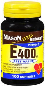 Mason Natural Vitamin E 400 Iu Alpha Softgels Dietary Supplement 100
