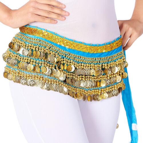 Oriental Bellydance Costume Hip Scarf Egyptian Indian Belt 3 Rows Coins Velvet