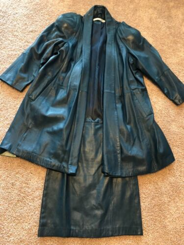 green leather skirt suit