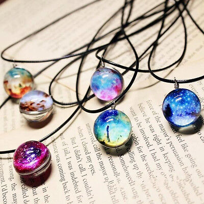 Stars Galaxy Pattern Glass Necklaces Glass Ball Pendant Leather Necklace Gift