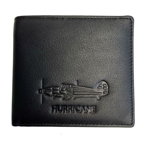 Military Heritage Mens Black Leather Hurricane Aviation Wallet In Gift Box