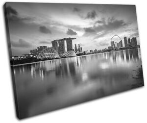 Singapore-Reflection-Night-Skyline-City-SINGLE-CANVAS-WALL-ART-Picture-Print