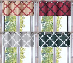 1PC-VALANCE-Geometric-Design-Blackout-Lined-Window-Curtain-Grommet-Panel-MOZA