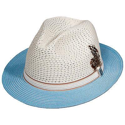 STACY ADAMS Men L/Blue Paper Braid flat brim Fedora Hat VentMilan/Ribbon feather
