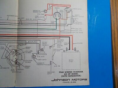 1968 JOHNSON OUTBOARD MOTORS 40HP MODEL WITH GENERATOR WIRING DIAGRAM  JS-4306 | eBayeBay
