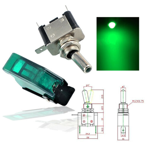 12V 20A Green  LED Light Toggle Switch ON//OFF Cover For Car Truck Lights