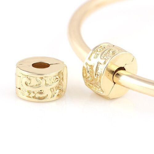 Gold Plated Tendril Flowers Clip Stopper Christmas Gift fits European Bracelets