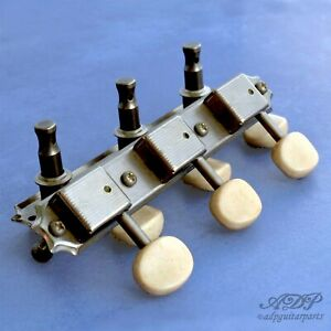 Tuners-VintageRelic-SingleLine-look-Kluson-56-64-3xOnPlate-OvalButton-NickelAged