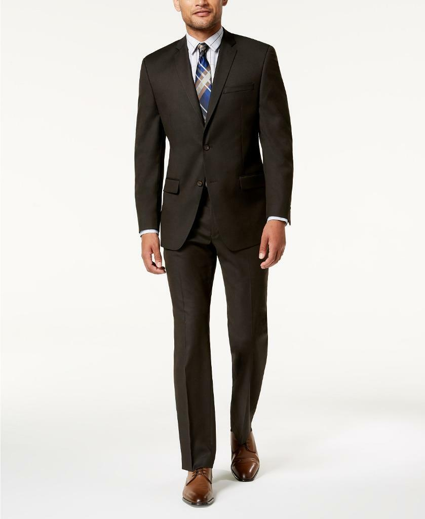 Andrew Marc Men's Modern Fit Stretch Brown Solid 2 PC Suit Pants 46R 37 x 32
