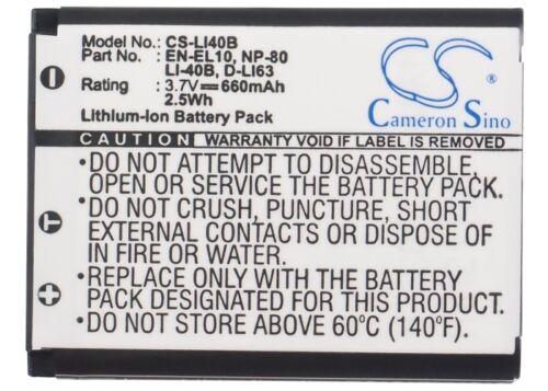 3.7V battery for OLYMPUS u720SW u760 FE-350, Stylus 720SW FE-330 Stylus 750