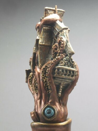 "/""SQUID ATTACKS/"" A SAIL SHIP BEER BAR TAP HANDLE DIRECT FROM RON LEE"