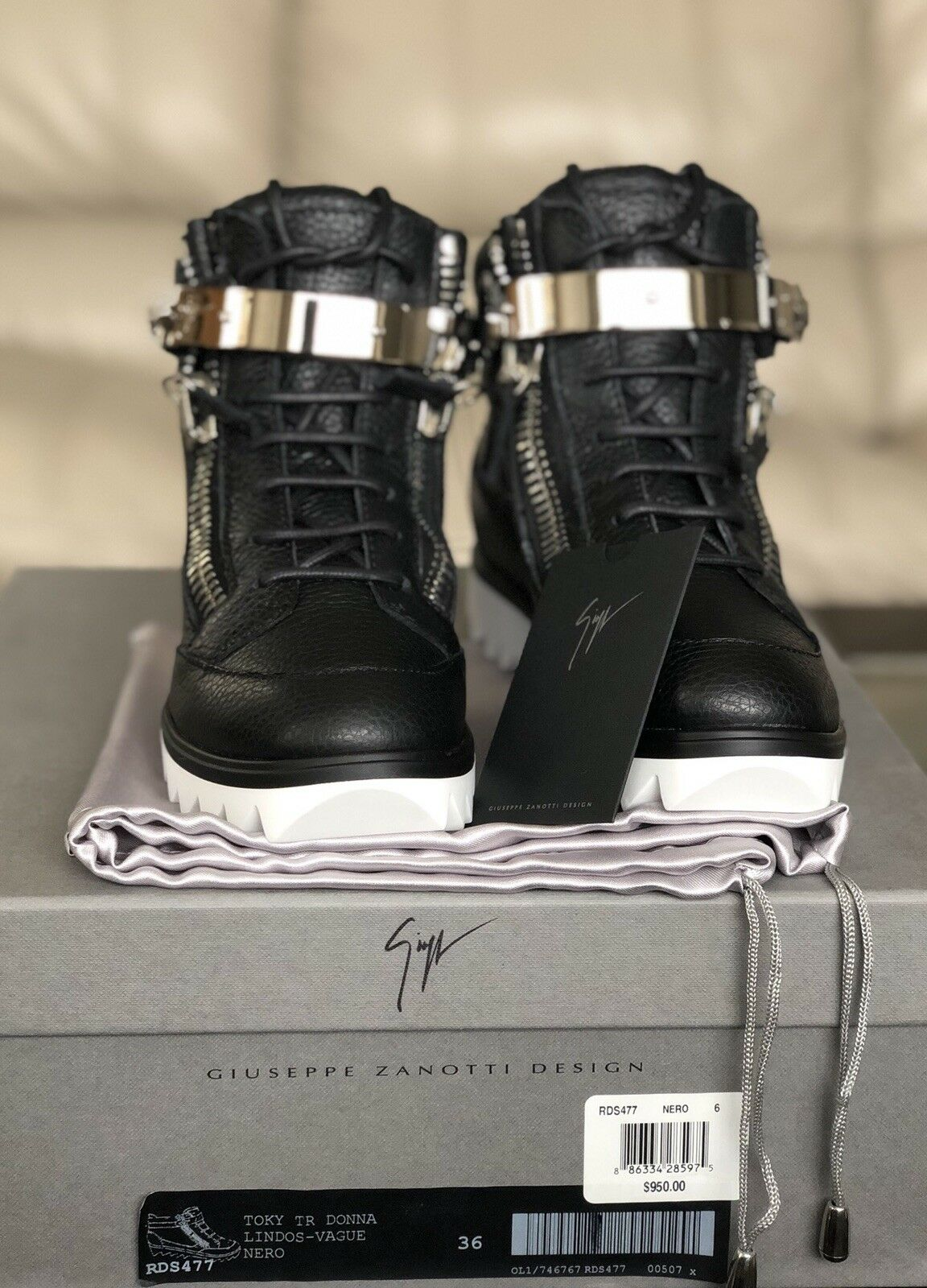 Giuseppe Zanotti RDS477 Nero 6 Dimensione 36 Double Zipped scarpe da ginnastica  100% Authentic