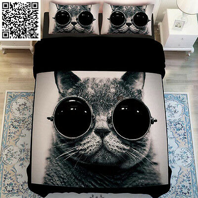 Hot Glass Cat Quilt Duvet Cover King Single/Queen/King Size Bedding Set New Cool
