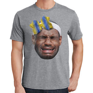 b808cf5d4697 Lebron James T-Shirt Crying Lebron Wearing a Warriors Bow 2073
